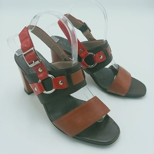 ANYI LU | red & brown strappy heeled sandals